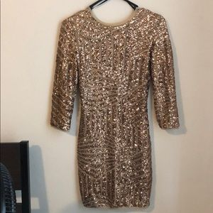Low back lined sequin gold dress